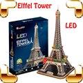 Новое поступление подарок эйфелева башня 3D логические построения модели игрушки из светодиодов свет дисплей национальный марк DIY обучения игры настоящее украшение