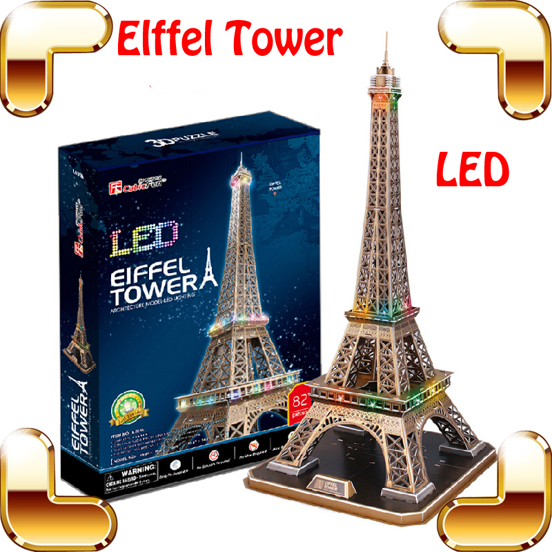 New Arrival Gift Eiffel Tower 3D Puzzle Model Building Toys LED Light Display National Mark DIY Learning Game Present Decoration 3d puzzle metal earth laser cut model jigsaws diy gift world s famous building eiffel tower big ben tower of pisa toys