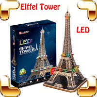 New Arrival Gift Eiffel Tower 3D Puzzle Model Building Toys LED Light Display National Mark DIY Learning Game Present Decoration