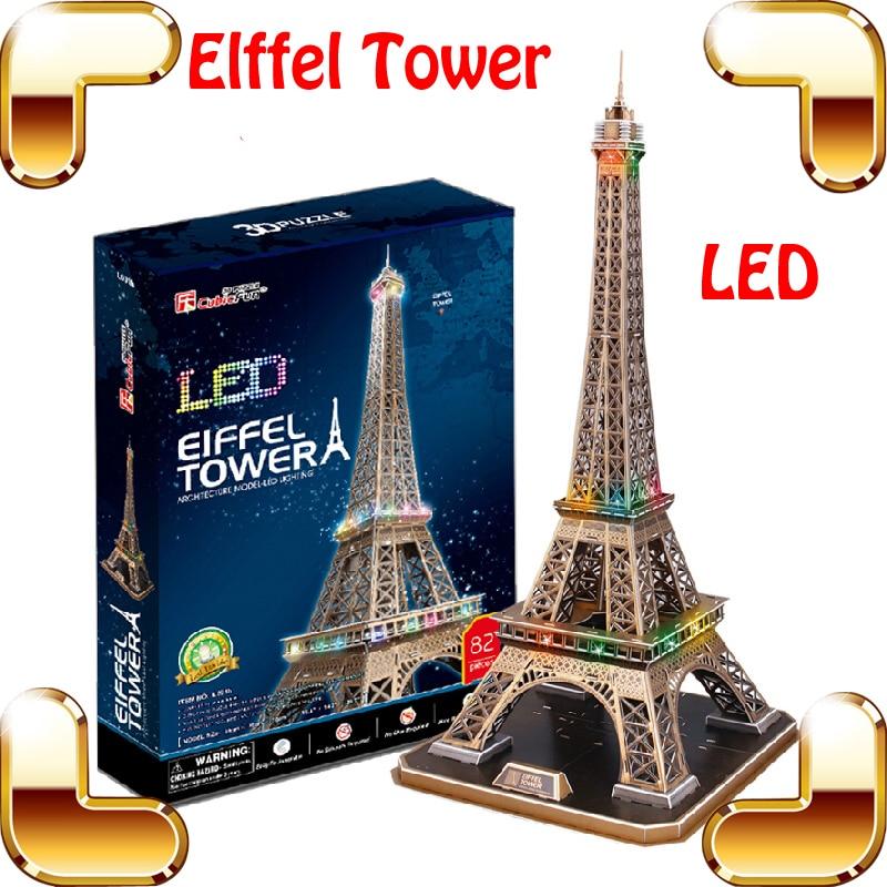 Nouvelle arrivée cadeau tour Eiffel 3D Puzzle modèle de bâtiment jouets LED affichage nationale marque de bricolage jeu d'apprentissage cadeau décoration