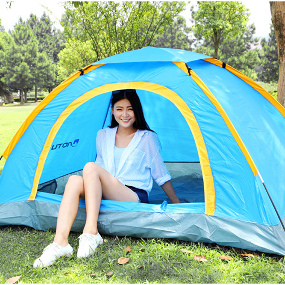Highly Waterproof Camping Tent 2 Persons Skylight Tent Camping Double-sided Zipper Traveling Beach Tent with Tent Pole/Carry BagHighly Waterproof Camping Tent 2 Persons Skylight Tent Camping Double-sided Zipper Traveling Beach Tent with Tent Pole/Carry Bag