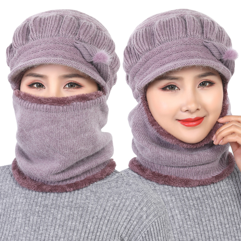 Winter Hats   Skullies     Beanies   Hat Winter   Beanies   For Women Wool Scarf Caps Balaclava Mask Gorras Bonnet Twist stripes Knitted Hat