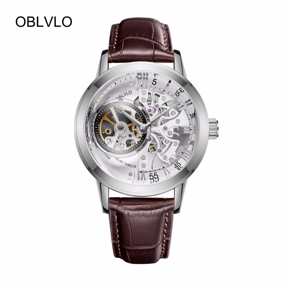 2018 Nuovo OBLVLO Modo di Marca di Orologi di Scheletro Automatico Orologi In Acciaio Cinturino In Vera Pelle Mens Orologi Da Polso VM 1