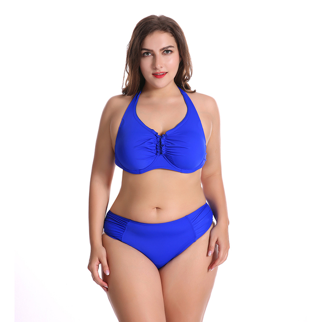 cb30d01a60 Big Size Bikinis Set Swimming Suit Push Up Swimwear Sexy Big Breasts Bikini  Monokini Women Beach Suit Plus Size Bathing Suit
