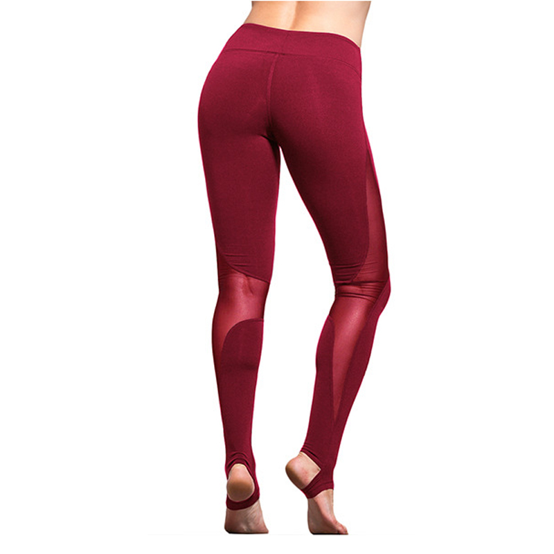 High Quality Mesh Insert Stirrup Leggings Women Fitness