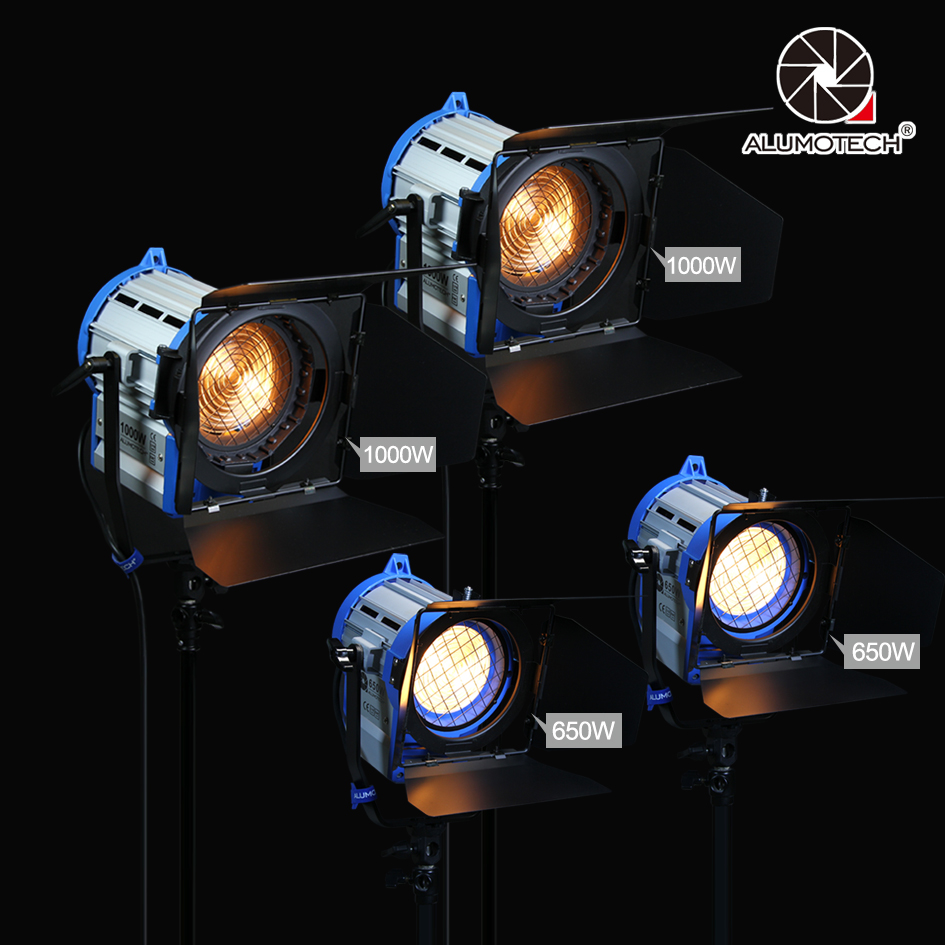 ALUMOTECH (650 w + 1000 w) x2 Dimmer Built-In Fresnel Tungsteno Spot light per la pellicola della macchina fotografica video