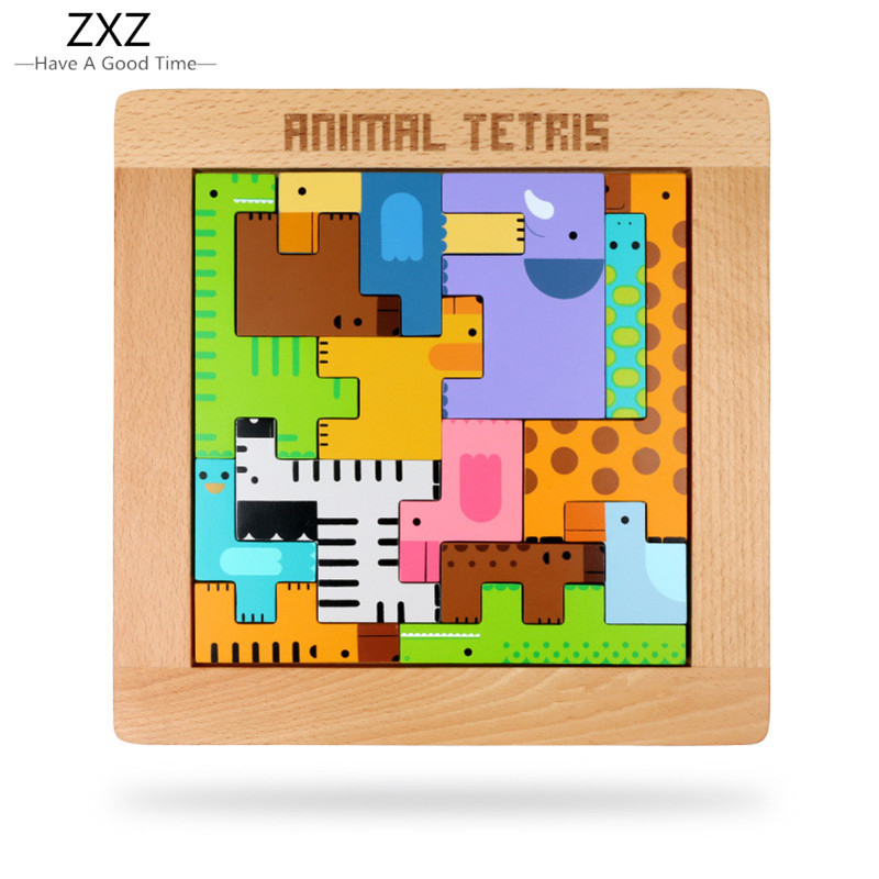 ZXZ 1pcs Animal Puzzle for Children Educational Toys Children Wooden Toys Baby Kids Puzzle Wood Puzzles for Children Wooden Game 1000pcss wooden puzzles wool puzzle adult decompression toy jigsaw puzzle for children s educational toys developmental game
