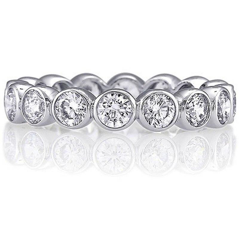 Vecalon Mode Bandes De Mariage des Femmes Anneau 925 Sterling Argent 3mm 5A Zircon Sona Cz bagues de Fiançailles pour les femmes Doigt bijoux