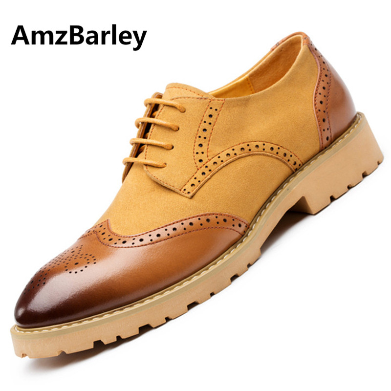 AmzBarley Men Shoes Brogue Flats Genuine Leather Suede Patchwork Man Casual Footwear Driving Plus Big Size Fashion British Style genuine leather men casual shoes plus size comfortable flats shoes fashion walking men shoes