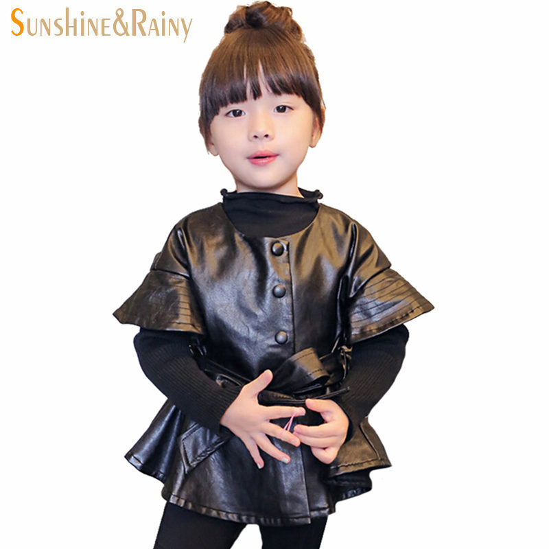 ФОТО Kids Winter Elegant Style Girls PU Jacket With Knit Sleeves High Quality Baby Leather Jackets  Single-breasted Coats  2~7Y