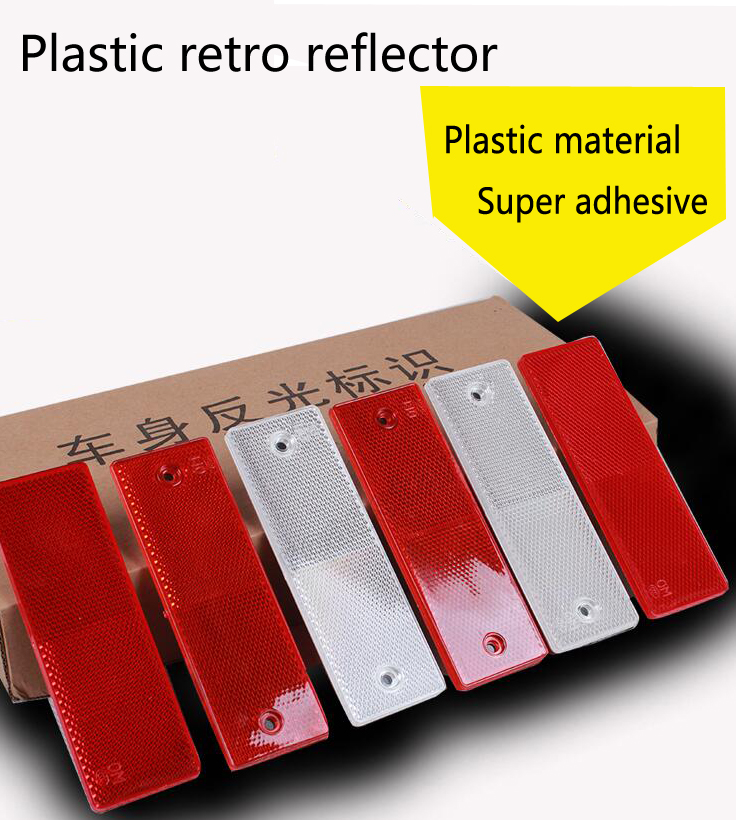 Hot Sell 2PCS/lot Red And White Plastic Retro Reflector For Car