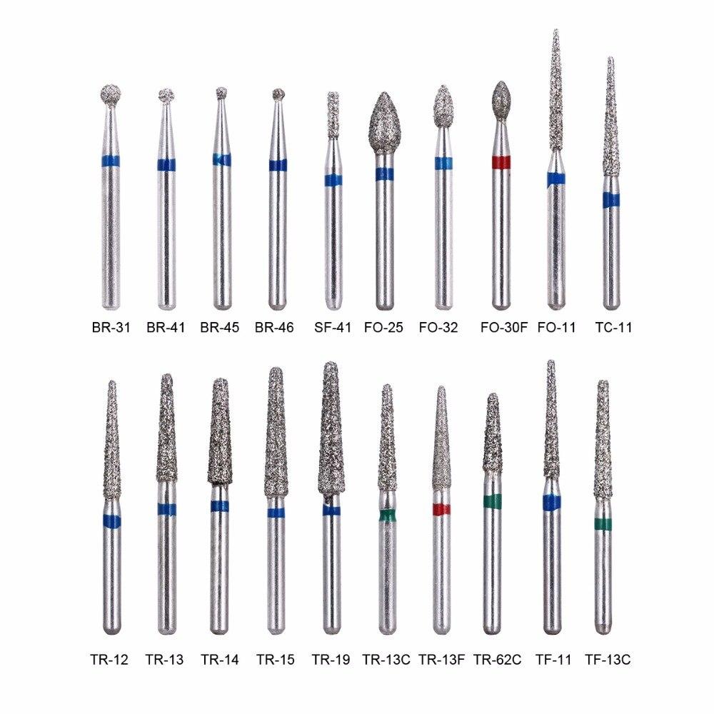 100pcs/20boxes Dental Diamond Burs For High Speed Handpiece Medium  Dentist Tools Teeth Whitening Matreial Dental Lab Tools