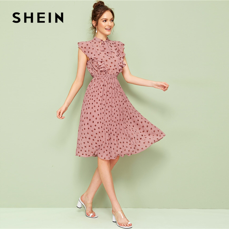 SHEIN Pink Tie Neck Ruffle Trim Dot Pleated Summer Midi Dress Women's Shein Collection