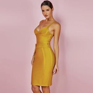 Image 3 - Ocstrade女性包帯ドレス 2020 レーヨンノースリーブ夏新着セクシーなディープvネックvestidoボディコン包帯ドレスクラブパーティー