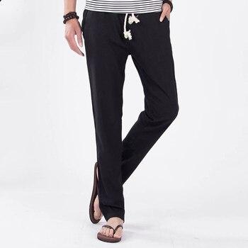5XL Anti-Microbial Healthy Linen Pants Men Breathable Slim Joggers Male Flax Trousers 2018 Cotton Hemp Straight Pants Plus Size 1
