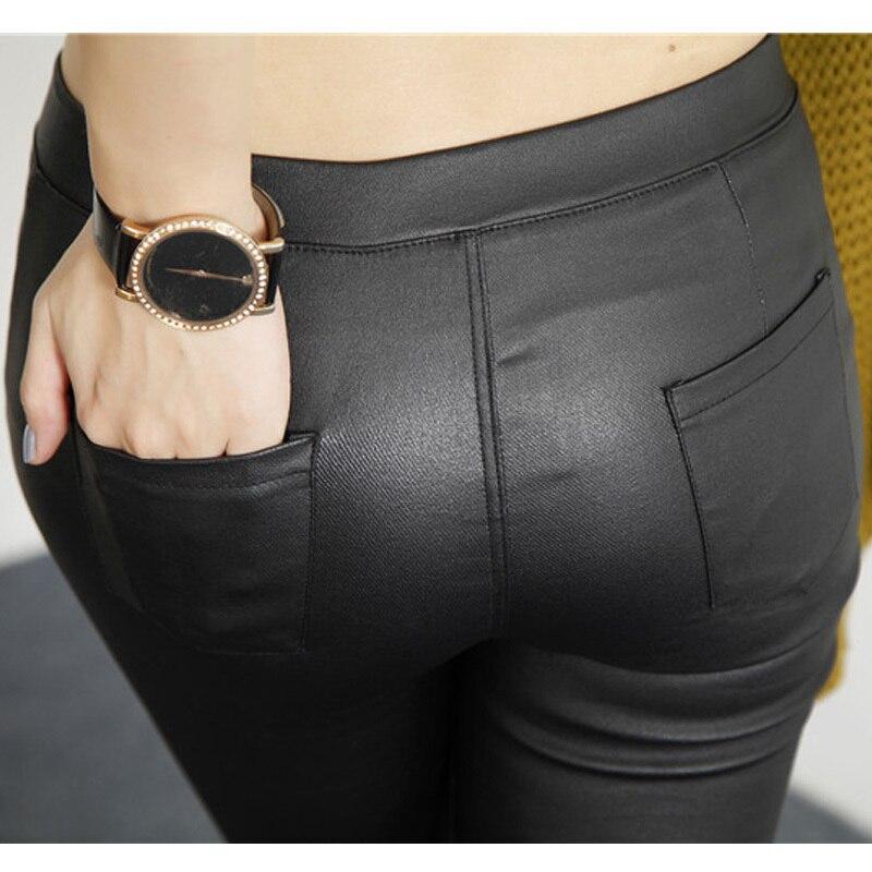 a615943d6fcc1 2018 Autumn New Fashion Korean Fall Womens Outer Wear Matt Black Leather  Leggings Pencil Pants Skinny Leggings Trousers Women-in Leggings from  Women's ...