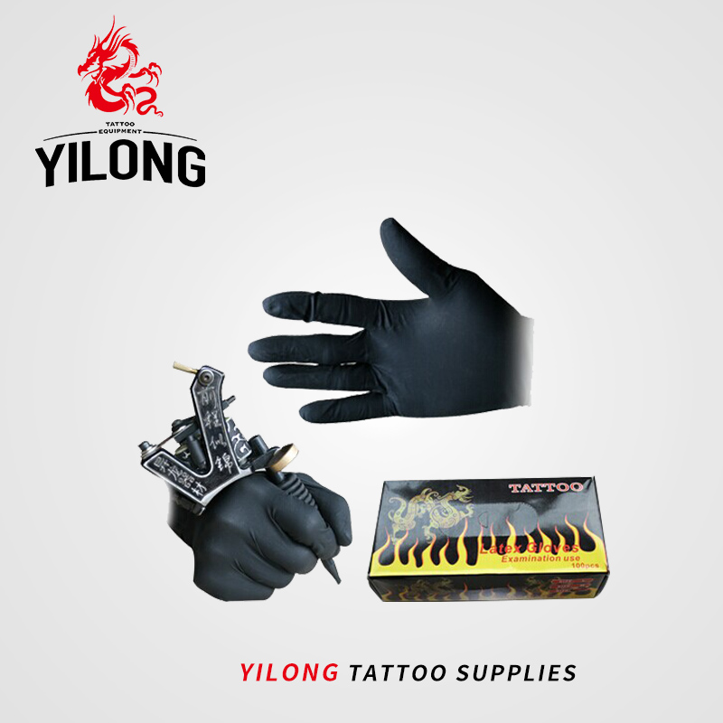 YILONG 100 pcs High Quality Tattoo & Body Art Black Disposable Tattoo Latex Gloves Available Size Accessories Free Shipping 100 pcs of disposable black gloves medical tattoo cleaning supplies household tattoo accessories permanent makesup size large