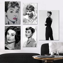 Audrey Hepburn Black and White Elegant Lady Wall Art Canvas Framed Print Painting Vintage Posters Prints Pictures