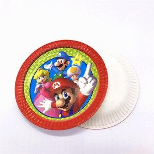 Image 3 - Mario Bros Party Wegwerp Servies Wegwerp Set Papier Plaat Servet Cup Uitnodigingskaart Super Mario Feestartikelen 83 stks/partij