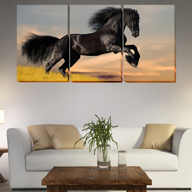 2018 Unframed 3 Piece Modern Wall Black Horse Painting Art Picture Paint  Canvas Home Decor