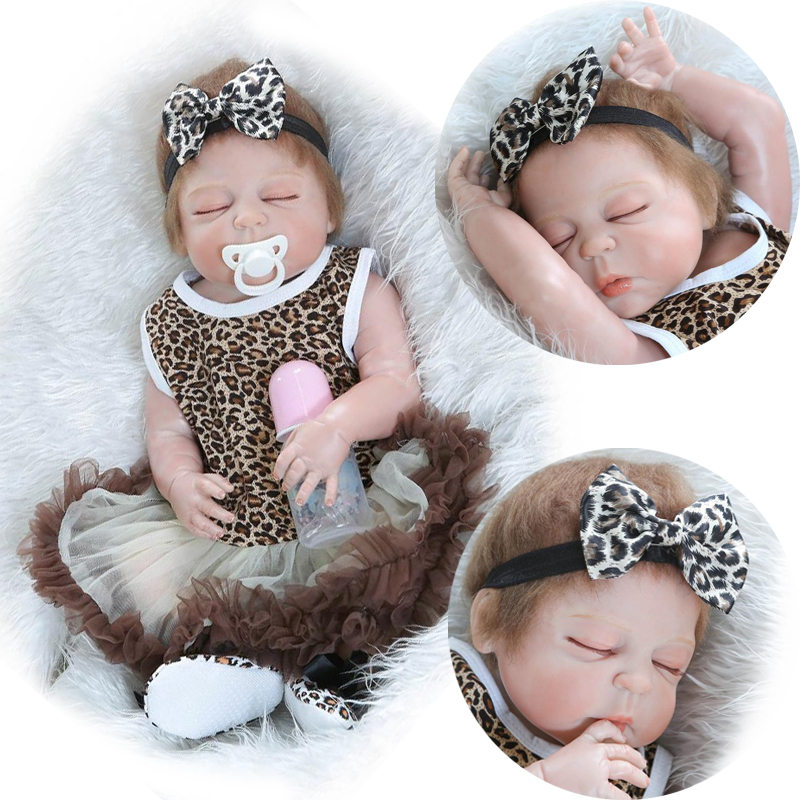 57cm/22 Sleeping Girl Leopard Print Dress Full Body Vinyl Soft Touch Reborn Baby Dolls Kids Toy Gift with Pacifier