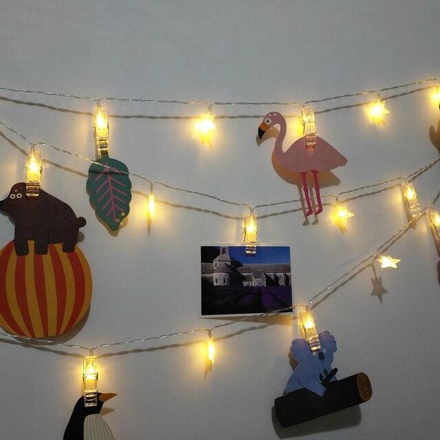 20 Leds Karte Foto Clip Mit Stern Lichterketten Batterie Weihnachten