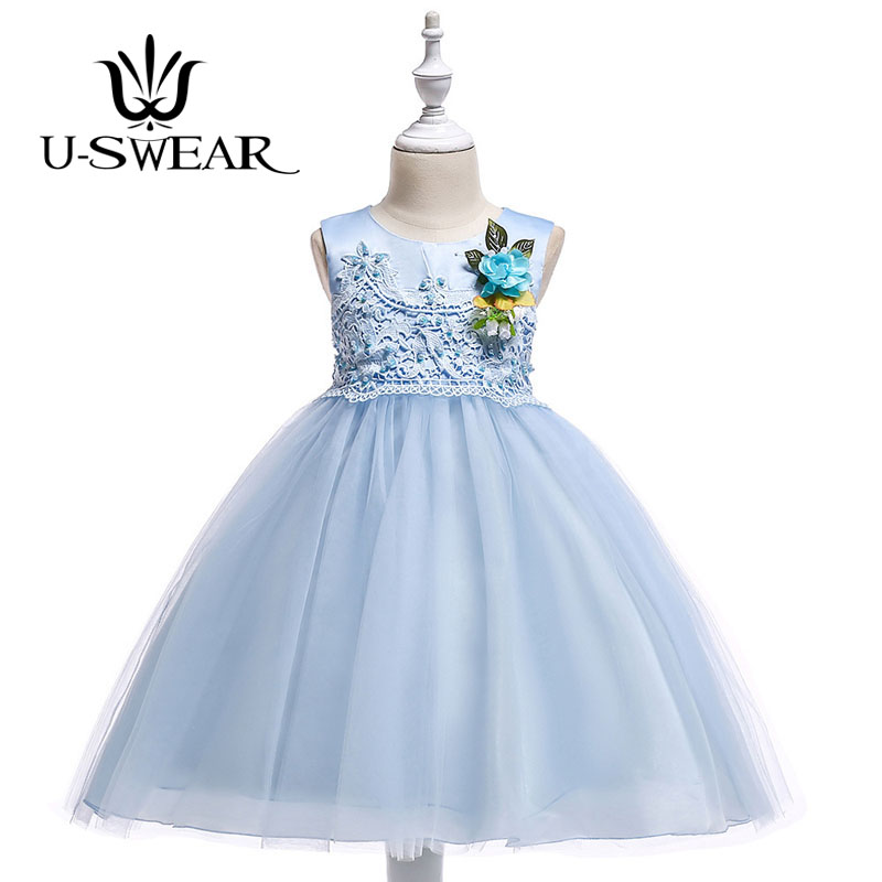U-SWEAR 2019 New Arrival Kid   Flower     Girl     Dresses   O-neck Sleeveless Lace   Flower   Appliqued Chiffon Ball Gown Pageant   Dress   Vestido