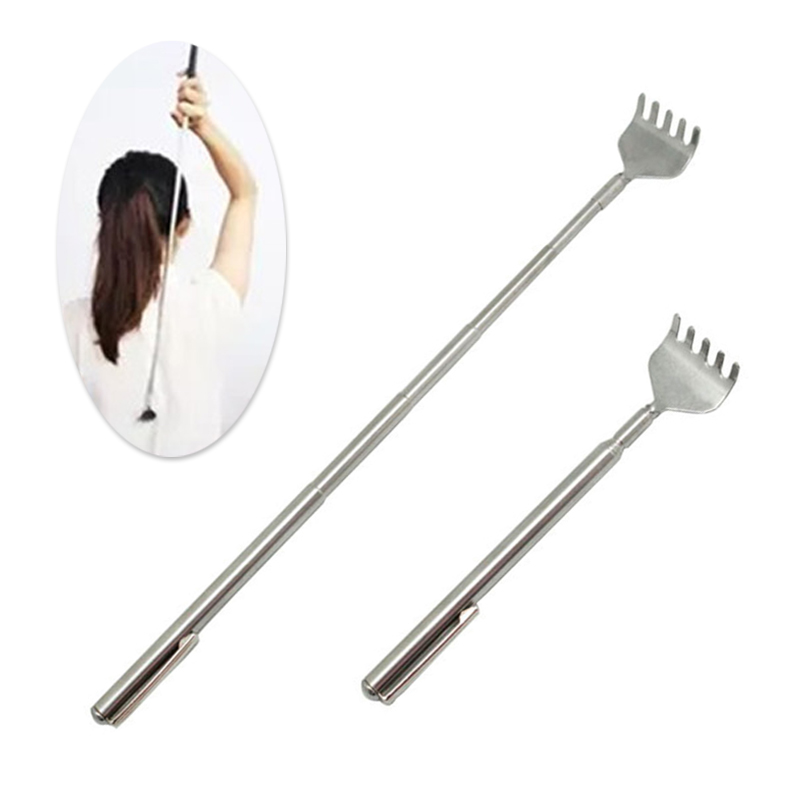 Portable Telescopic Adjustable Size Pen Clip Massage Stainless Steel Telescopic Back Scratcher Itch Scratch Massage Tool