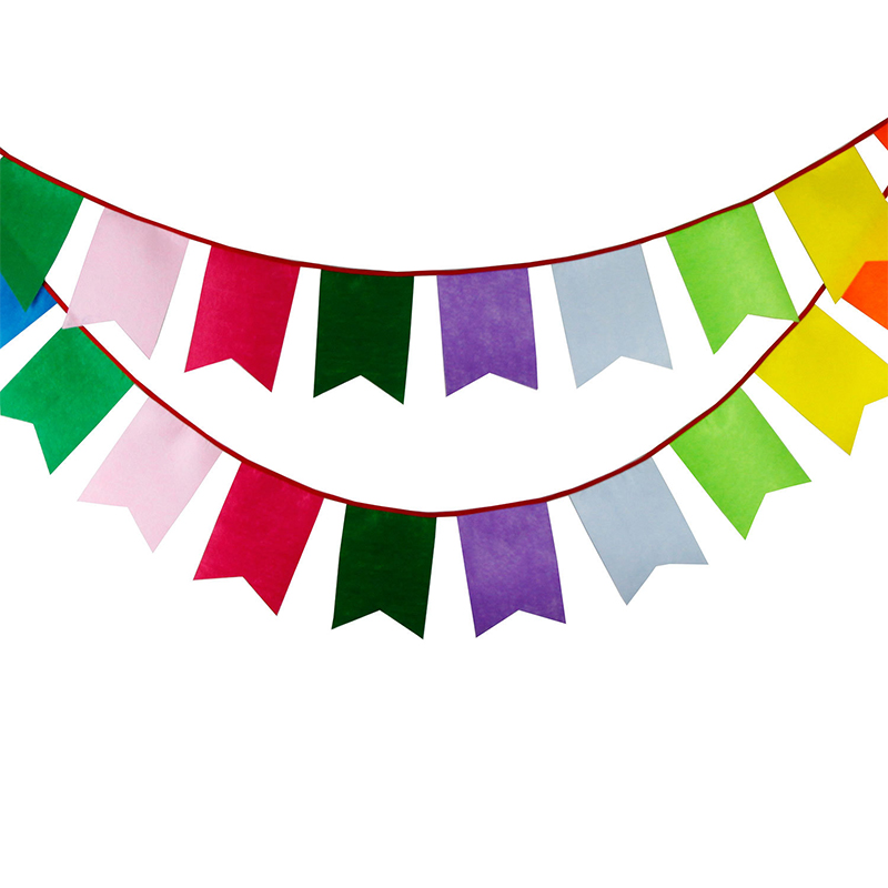 Multi Color Cotton Flag 3.2m 12flags Fabric Bunting Pennant Banners for Baby Shower Supplies Wedding Party Backdrops Decoration