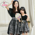Mother Daughter Dresses 2016 Summer Dress Matching Clothes Black Lace Mom And Daughter Dress Mommy And Me Clothes Family Look