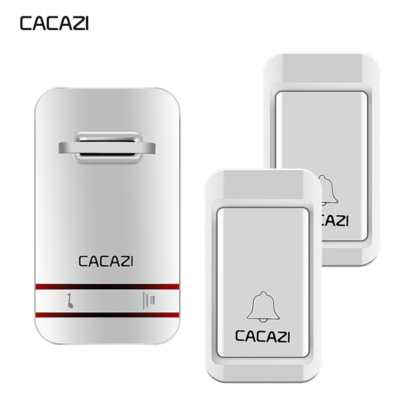 CACAZI Sans Fil Sonnette Auto-alimenté Pas de Batterie Étanche Led Lumière 2 Bouton 1 UE plug Récepteurs Maison Sans Fil Cloche 38 carillons