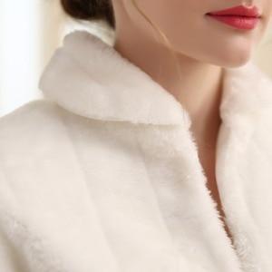 Image 5 - SHAMAI Fur Shawl Wedding Wrap women Winter Long Sleeve Lvory Bridal Jackets Married Outerwear Bride Cape Autumn Winter Jacket