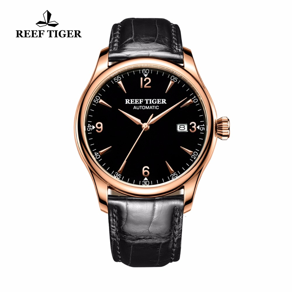 Reef Tiger/RT Business Watches for Men Black Leather Band Rose Gold Tone Wrist Watches RGA823G 2x yongnuo yn600ex rt yn e3 rt master flash speedlite for canon rt radio trigger system st e3 rt 600ex rt 5d3 7d 6d 70d 60d 5d