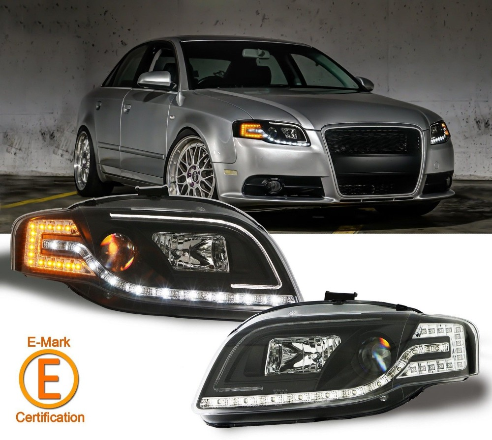 r8 style drl black projector headlights w led turn signal. Black Bedroom Furniture Sets. Home Design Ideas