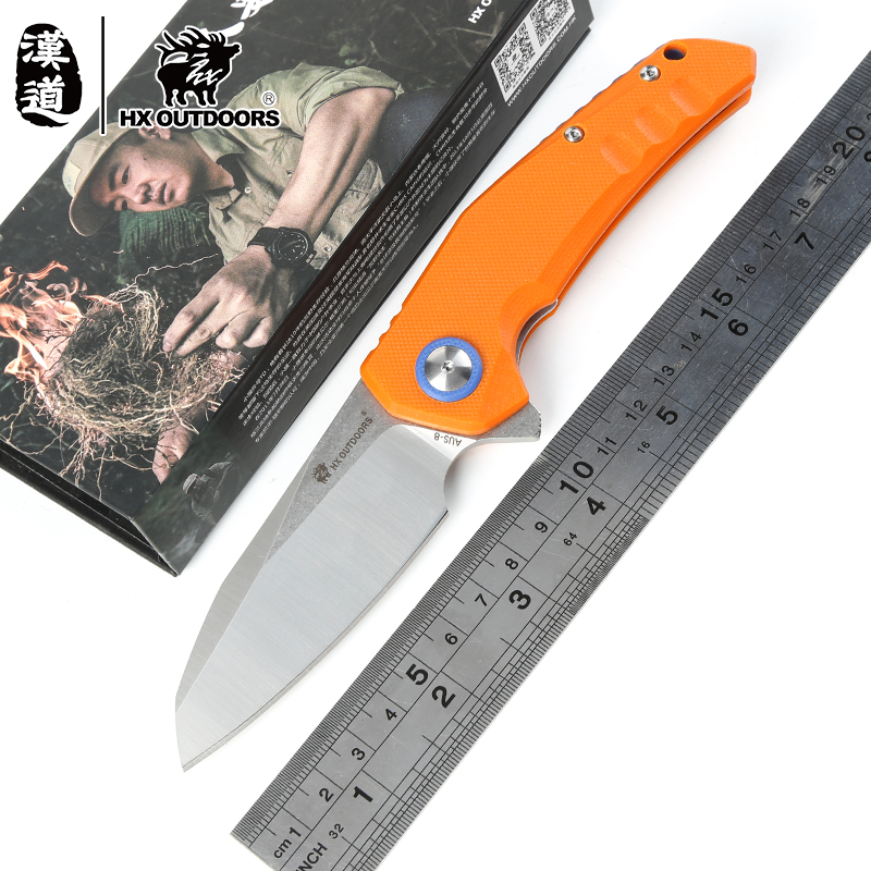 HX outdoors Gear Mad Lolita Folding Ball bearing Flipper Knife AUS-8 blade G10 handle camping hunting survival knives edc tools ch3002g10 new original design flipper folding knife d2 knife ball bearing g10 steel handle camping fruit knife edc tools