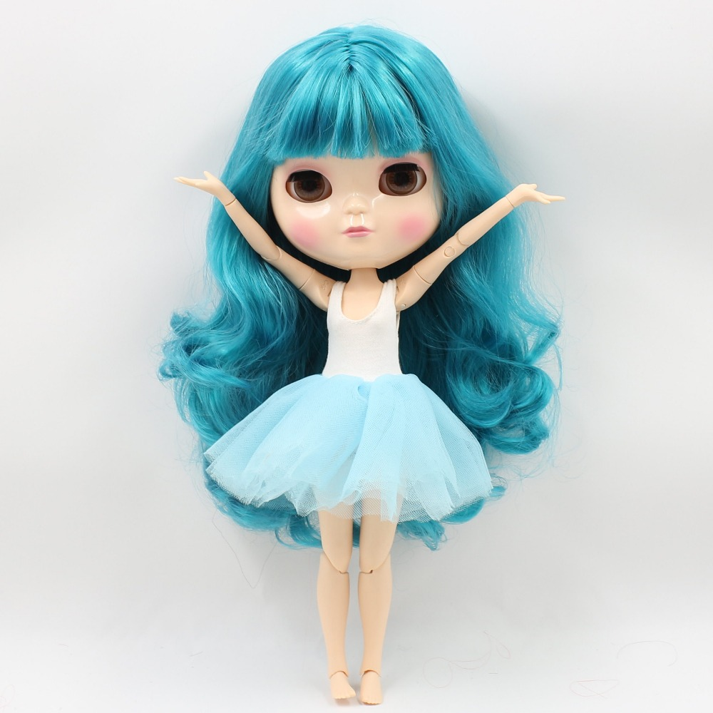 Neo Blythe Doll with Turquoise Hair, White Skin, Shiny Face & Jointed Azone Body 2