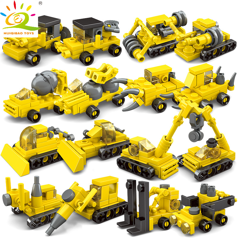 все цены на HUIQIBAO TOYS 8pcs/lot City Engineering Series Construction Truck Excavators Cranes Building Blocks Compatible Legoed City Brick онлайн