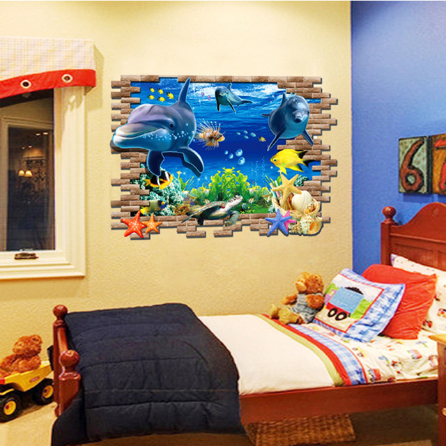 3d Wall Stickers Sea Whale Fish for Kids Room living room DIY PVC ...