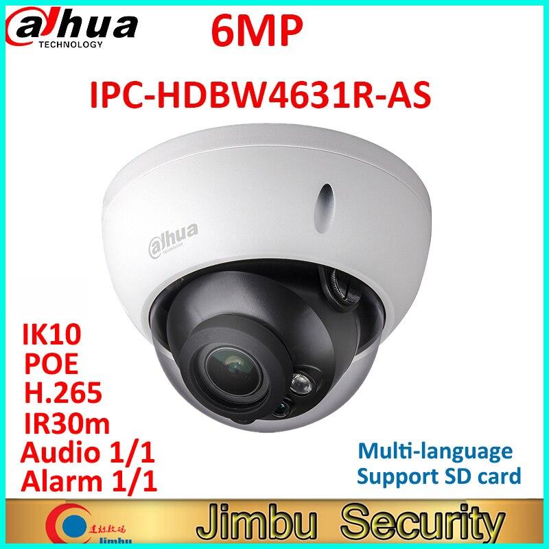купить Dahua 6MP IP camera IPC-HDBW4631R-AS POE IK10 IP67 Audio and Alarm in/out IR30m H.265 CCTV security camera support SD card по цене 5426.19 рублей