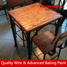 American rustic vintage wood dinning table and Chair combination wrought iron dining table