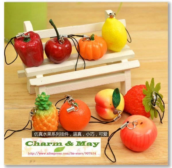 Free Shipping/ Cute Fruit charm / mobile phone strap Pendant / Rubber charm/ Wholesale D5063