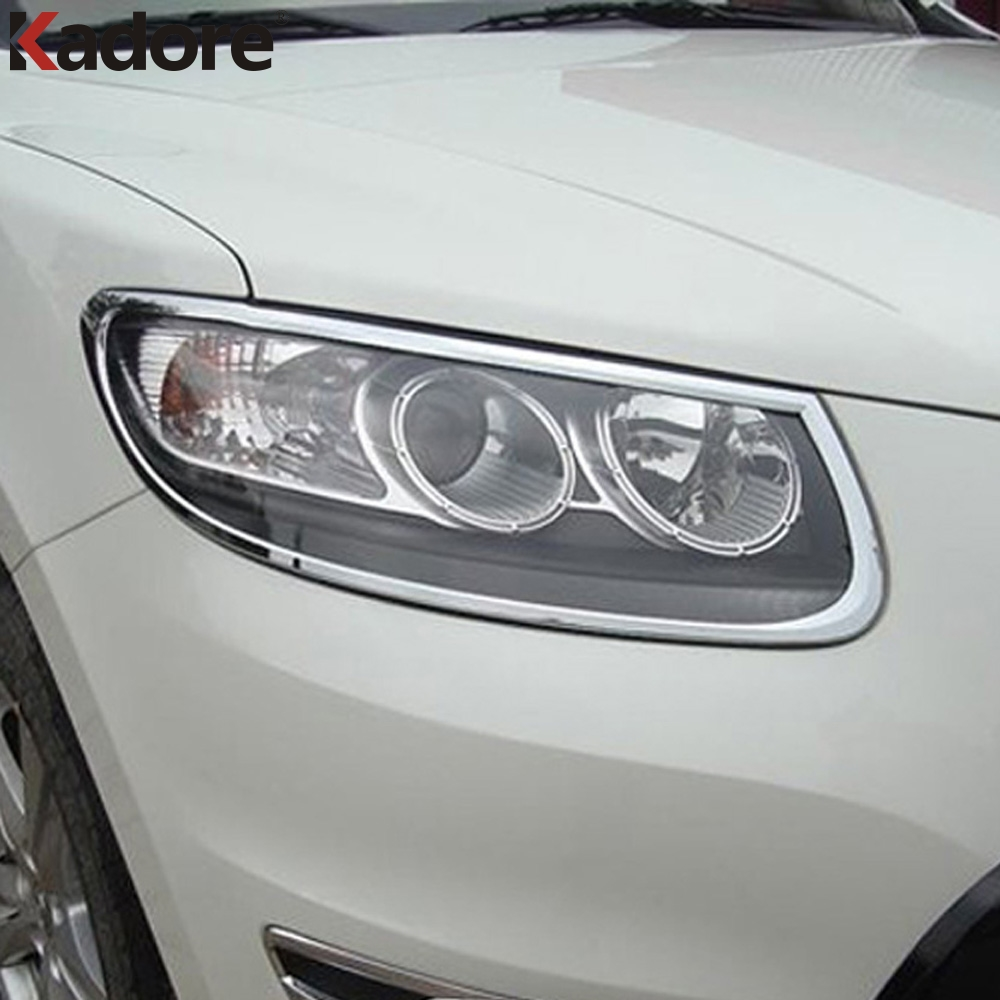 For Hyundai Santa Fe 2010 2011 ABS Chrome Auto Headlight Hood Bezels Front Head Lights Lamps Cover Trim Car Styling AccessoriesFor Hyundai Santa Fe 2010 2011 ABS Chrome Auto Headlight Hood Bezels Front Head Lights Lamps Cover Trim Car Styling Accessories