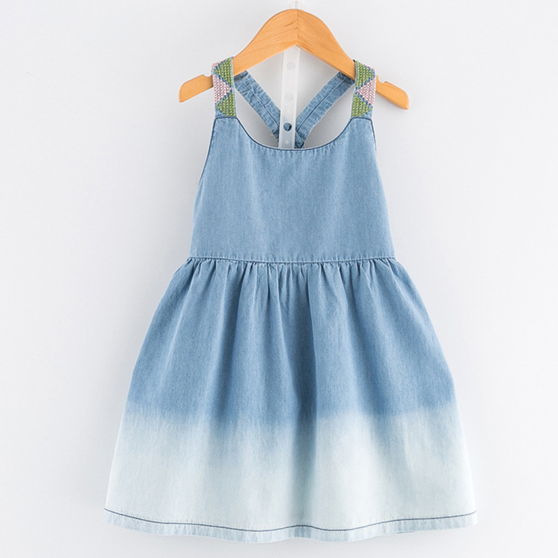 New Girls Dress 2016 Casual Summer Style Bull-puncher Dresses Cotton Kids Clothes Backless Denim Dress  Shoulder-Straps 3-7Y