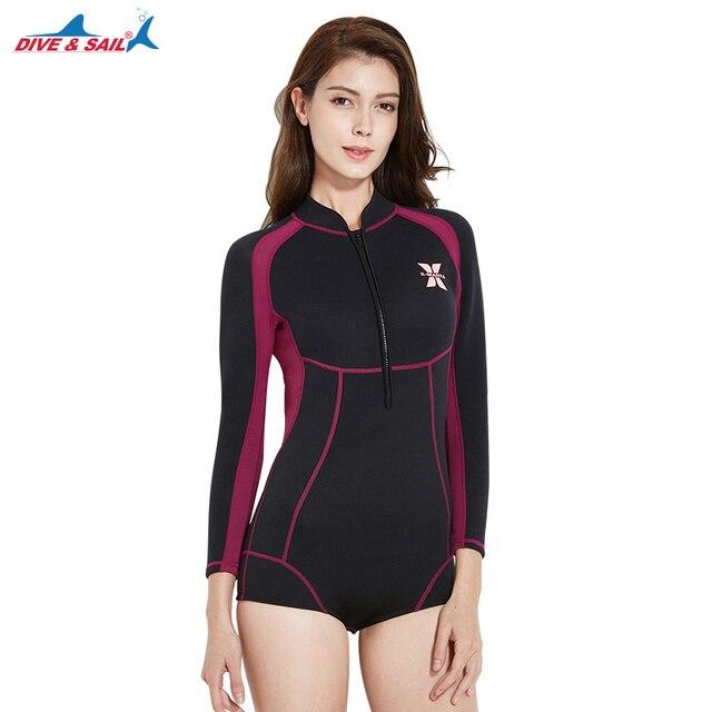Dive   Sail Wetsuits Women s Premium Neoprene 1.5mm Shorty Wetsuit Long  Sleeve Front Zip Pink Black Diving Suit Jumpsuit. 1 order 563cecc0f