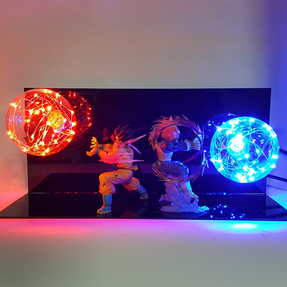 Dragon Ball Z Goku Vegeta Super Saiyan Led Lighting Kamehameha Anime Dragon Ball Super Goku Vegeta Collectible Model Toy DBZ