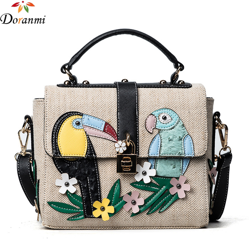 Large Doctor Bag Purse Designed Appliques Flower Bird Pattern Messenger Crossbody Bag DJB129