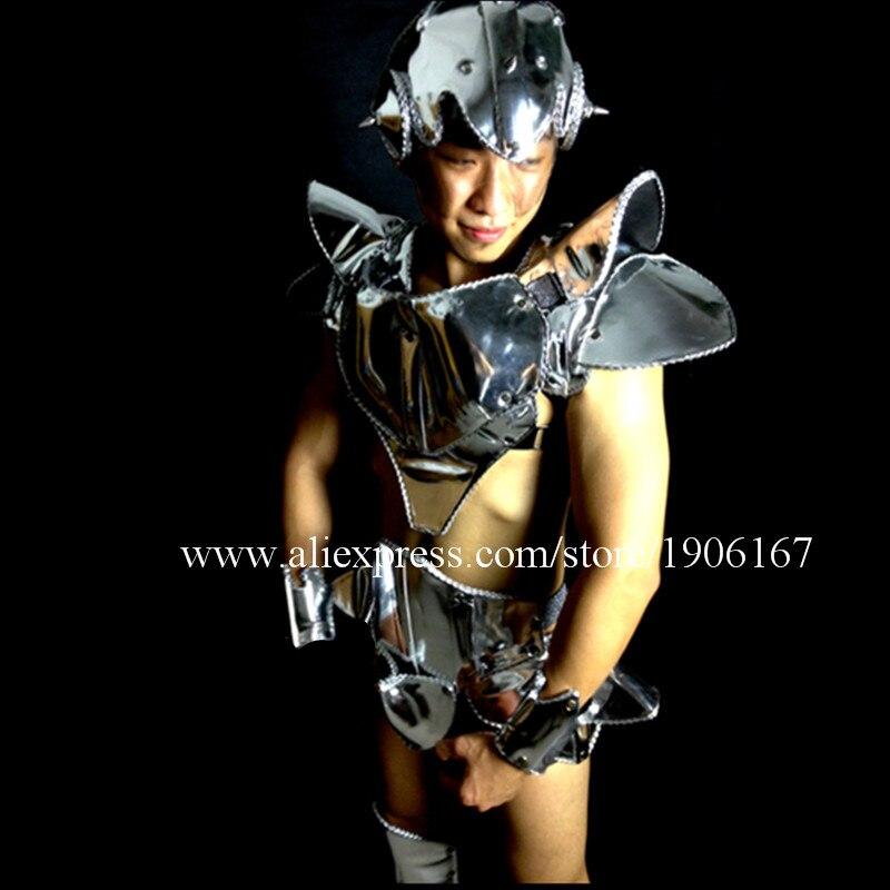 Défilé montre hommes couleur argent scène Costume discothèque Bar fête noël décoration Performance DJ chanteur vêtements Costume