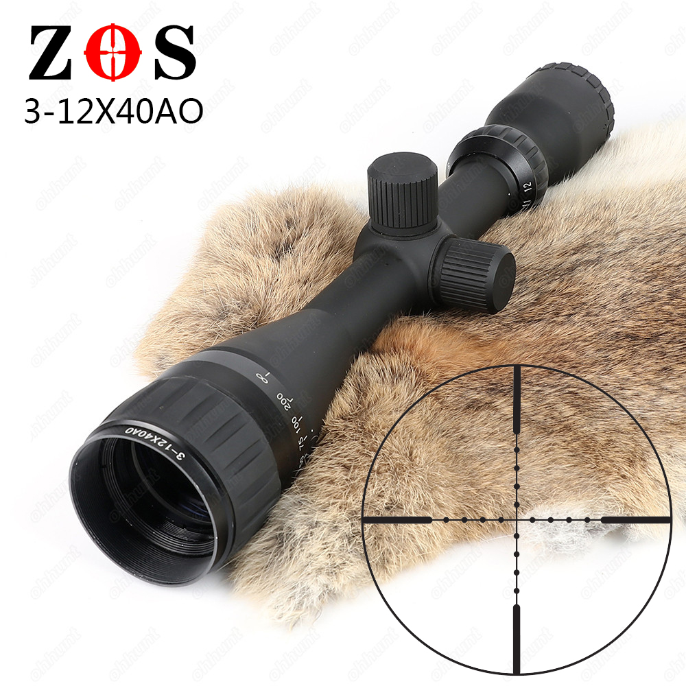 ZOS 3-12x40 AO Mil Dot Reticle Riflescope Classic Tactical Weapon Optical Sight For Hunting Rifle Scope With Lens Cover tactial qd release rifle scope 3 9x32 1maol mil dot hunting riflescope with sun shade tactical optical sight tube equipment