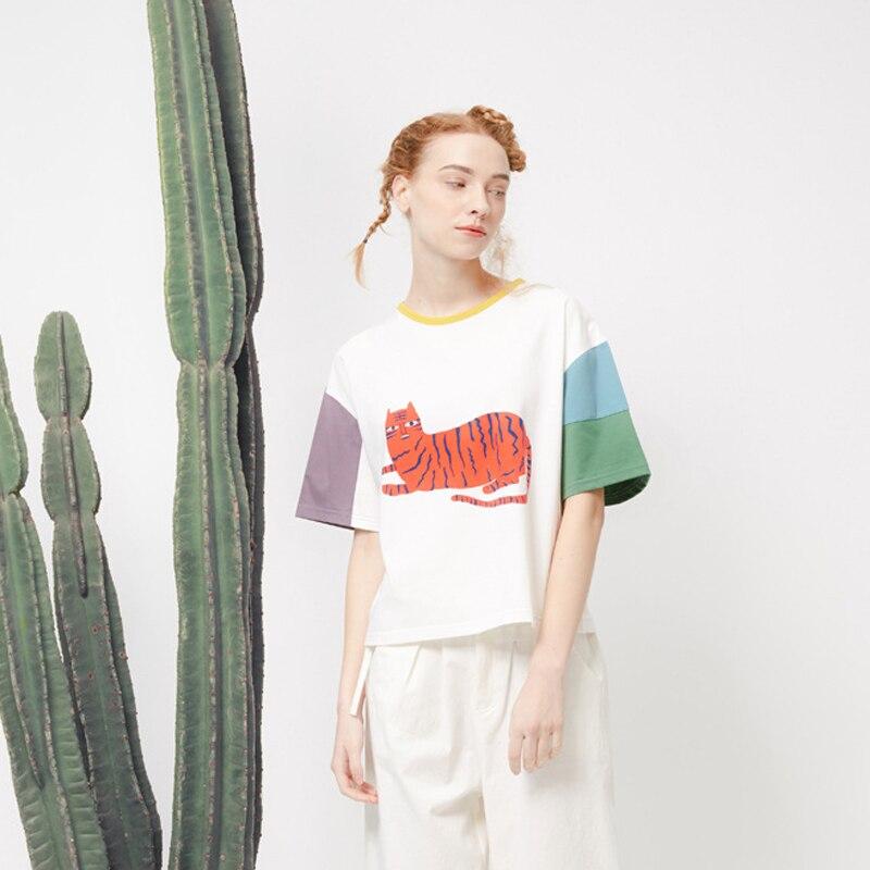 2016 Summer New Korean Girls Tshirts Loose Stitching Casual Tee Tops Island Short Sleeved T Shirt