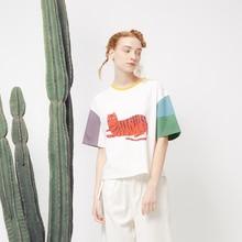 T-shirt Harajuku Summer Korean Girls' Tshirts Stitching Casual Tee Tops Cute Cat Printed Short-sleeved T Shirt Women's Cotton